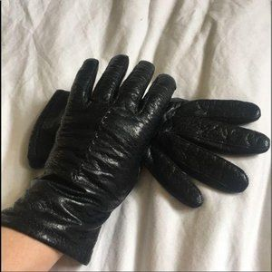 Leather driving gloves black Small